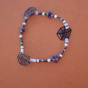 Jewelry - Spider web and amethyst accent anklet